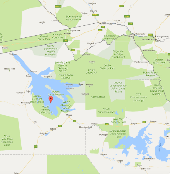 Okavango to Chobe Map