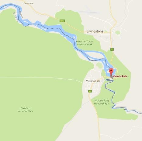 Victoria Falls & Livingstone Map