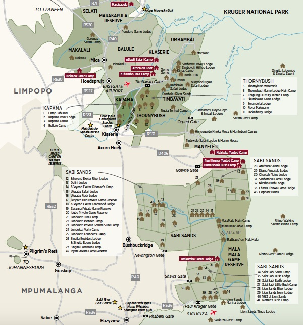 Greater Kruger Safari Map